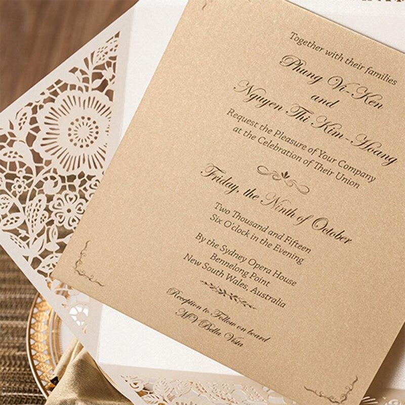 10sets Design Rustic Gold beige Wedding Invitations Laser Cut ...