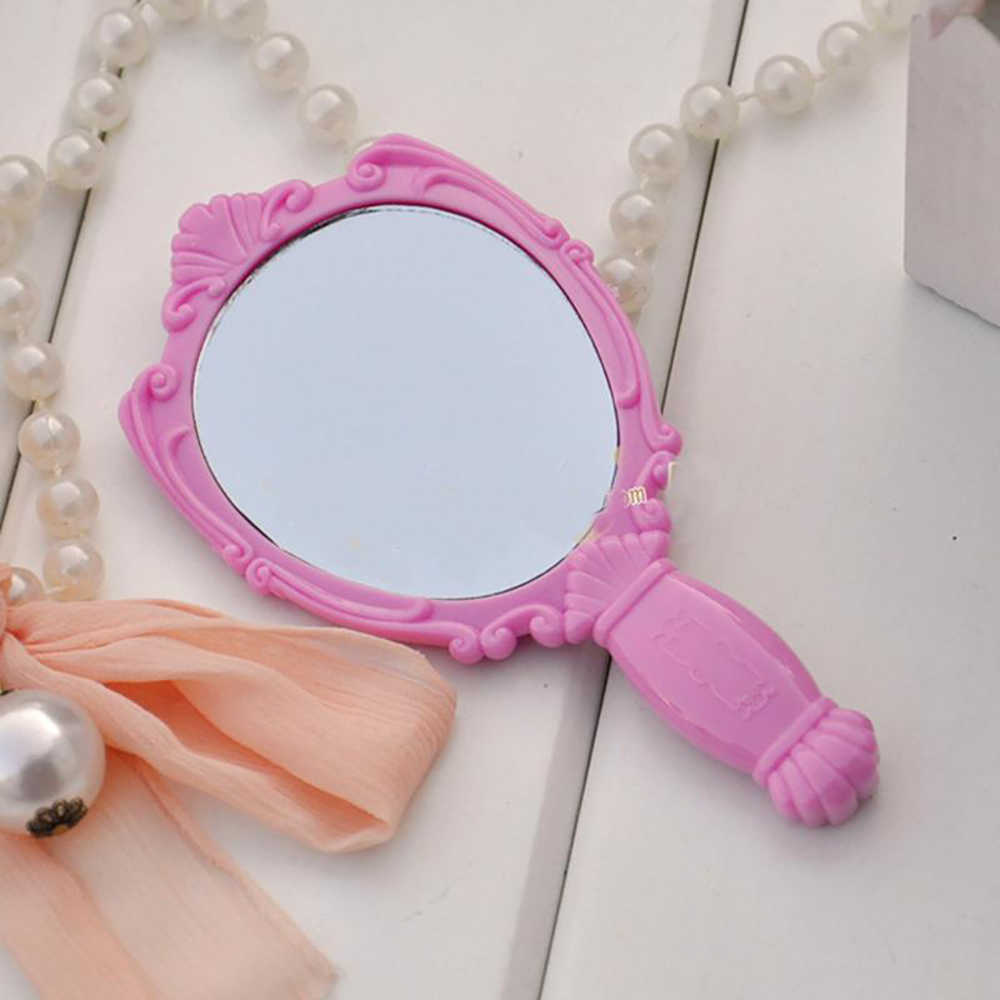 Portable Handheld Pocket Makeup Mirror Vintage Rose Cosmetic Mirror MINI Plastic Make Up Mirrors Gift for Girl Lady Woman M048