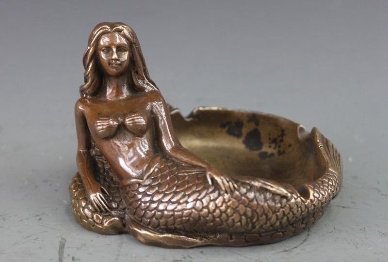 Chinese Bronze Copper Statue carving Mermaid Ashtray Sculpture