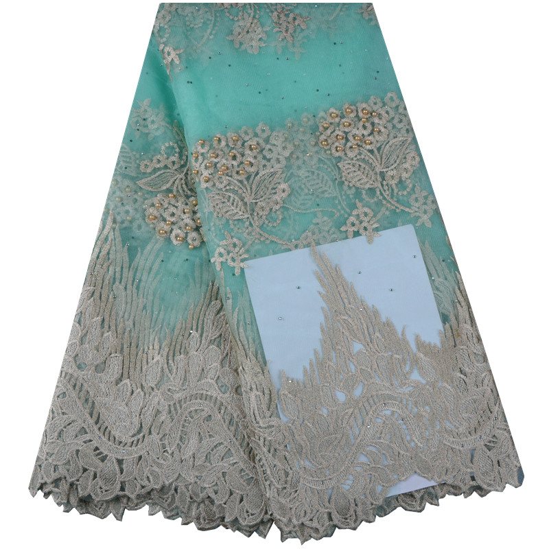 High Quality African Lace Fabric For Wedding 2018 Embroidered France Mesh Lace Fabrics Nigerian Guipure Cord