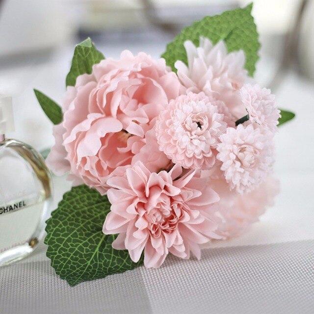 Populaire 2 Couleurs Belle Artificielle Fleurs Dahlia Pivoine Fleur Bouquet  QX33