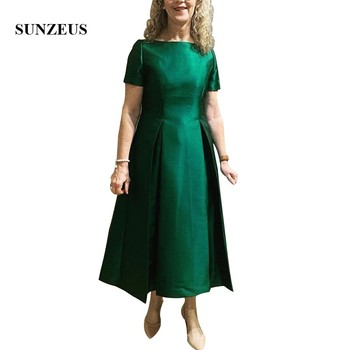 Vestidos De Madrina Emerald Green Bride Mother Dress With Short Sleeves A-line Ankle Length Satin Women Formal Gowns Lady Dress