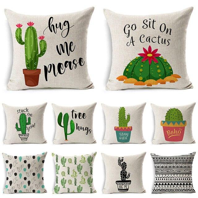 Comwarm Beige Succulente Cactus Fodere per Cuscini di Cotone di Tela Bella Tropi