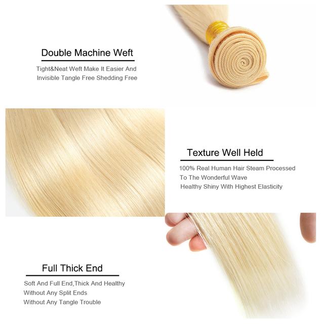 100% Blonde Peruvian Straight Hair Human Hair Weave Bundles