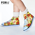 Pizza Funny Cute Girls Sweet Canvas Walking Shoes Hamburger Design Kawaii Style High Top Lace Up Kids Flat Comfortable Sneaker