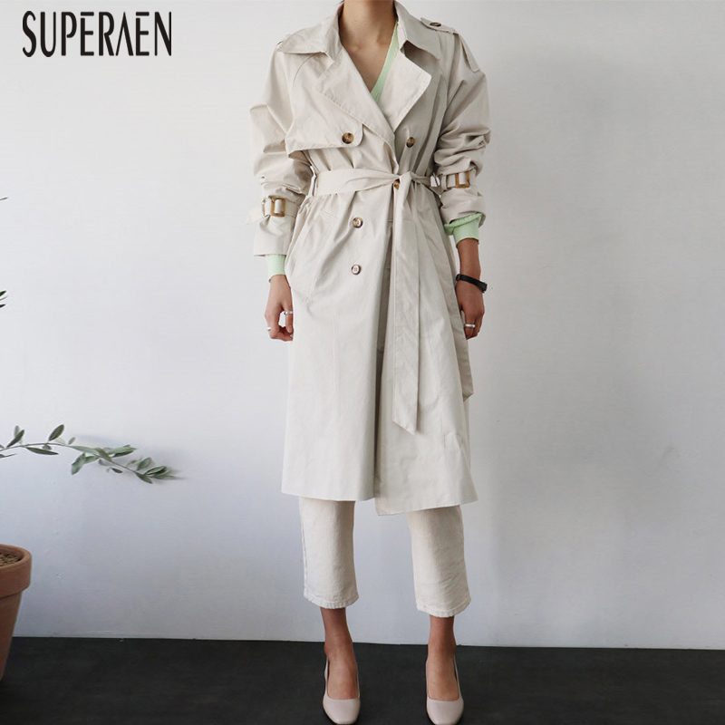 SuperAen 2019 Autumn New   Trench   Coat for Women Fashion Korean Style Wild Cotton Solid Color Windbreaker Double-breasted Female