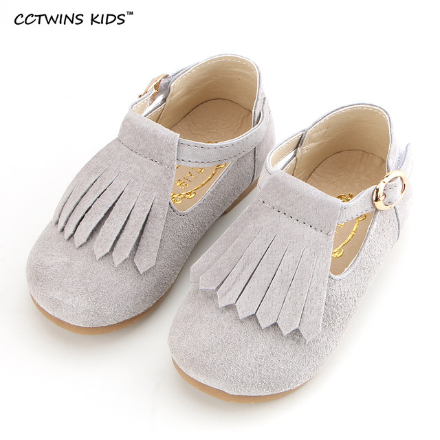 CCTWINS KIDS spring autumn fashion tassel genuine leather shoe for children pink party flats toddler brand dance ballet
