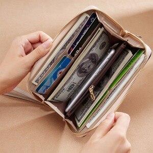 Image 3 - Foxer女性のスプリット革ロング財布女性のクラッチバッグファッションカードホルダー高級携帯電話の財布ジッパー財布