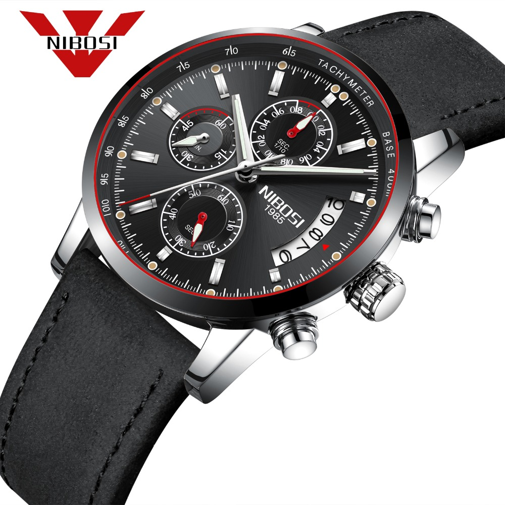 NIBOSI men sport watches Hot sale 3ATM waterproof quartz All Black leather watch Relogio Masculino цена и фото