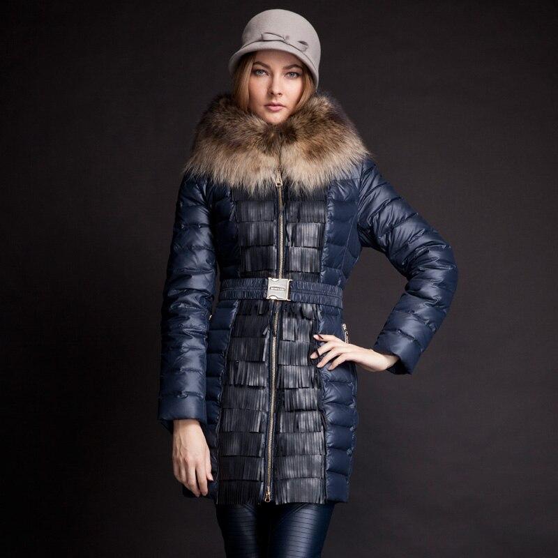Snowka Large Nature Racoon Fur Coat Tassel Winter Jacket