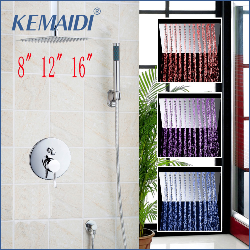 KEMAIDI  8 12 16 Bathroom Luxury Rain Mixer Shower Combo Set Rainfall Shower Head System Polished Chrome Bath & Shower Faucet kemaidi new modern wall mount shower faucet mixer tap w rain shower head