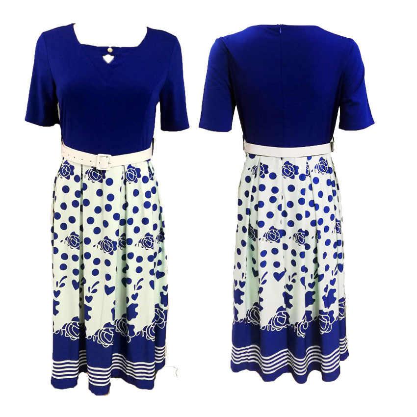 HGTE sexy di nuovo arrivo di stile di modo africano di stampa delle donne più il formato vestito di poliestere L-3XL