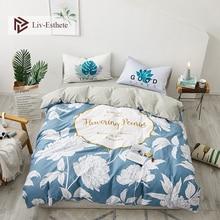 Liv-Esthete Wholesale Fashion Flower 100% Cotton Bedding Set Decor Duvet Cover Pillowcase Flat Sheet Double Queen King Bed
