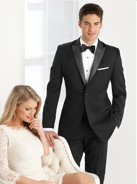 Online Shop 2018 Groom wedding suits Black tuxedos Two pieces ...