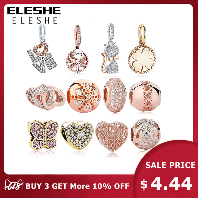 Original 925 Sterling Silver Charm Beads Heart Family Tree Rose Gold Crystal Beads Fit Authentic Pandora Charms Bracelet Jewelry