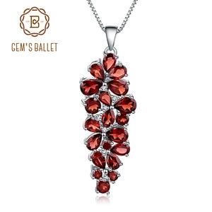 Image 1 - GEMS BALLET collar con colgante de plata de ley 925 y Gema de granate roja, joyería fina, Estilo Vintage, boda