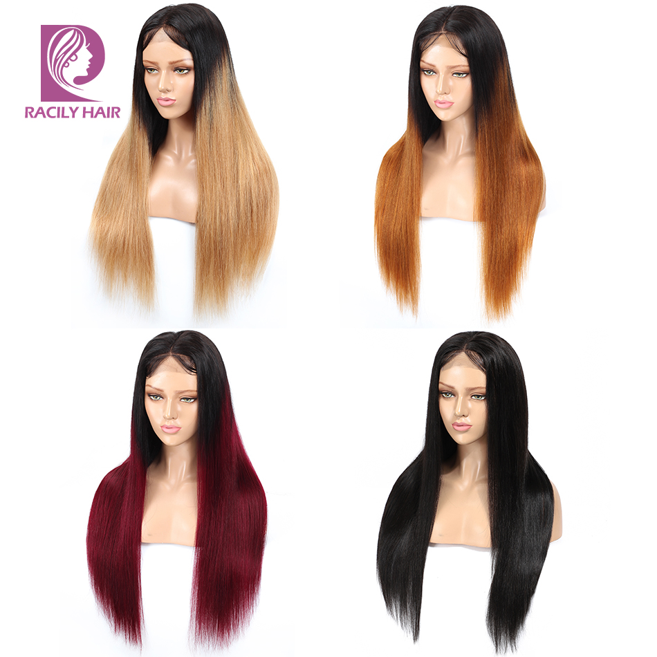 Racily Hair Ombre Blonde Lace Front Human Hair Wigs Glueless Colored Peruvian Straight Wig Red Remy