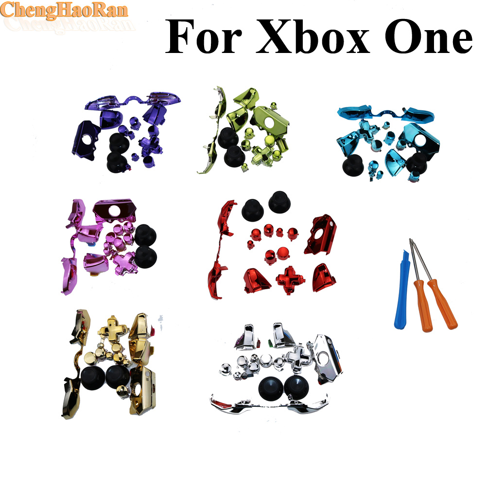 1set With Tool set Replacement Parts Chrome Buttons Bumpers Triggers D-pad  LB RB LT RT Full Buttons Set for Xbox One repair part