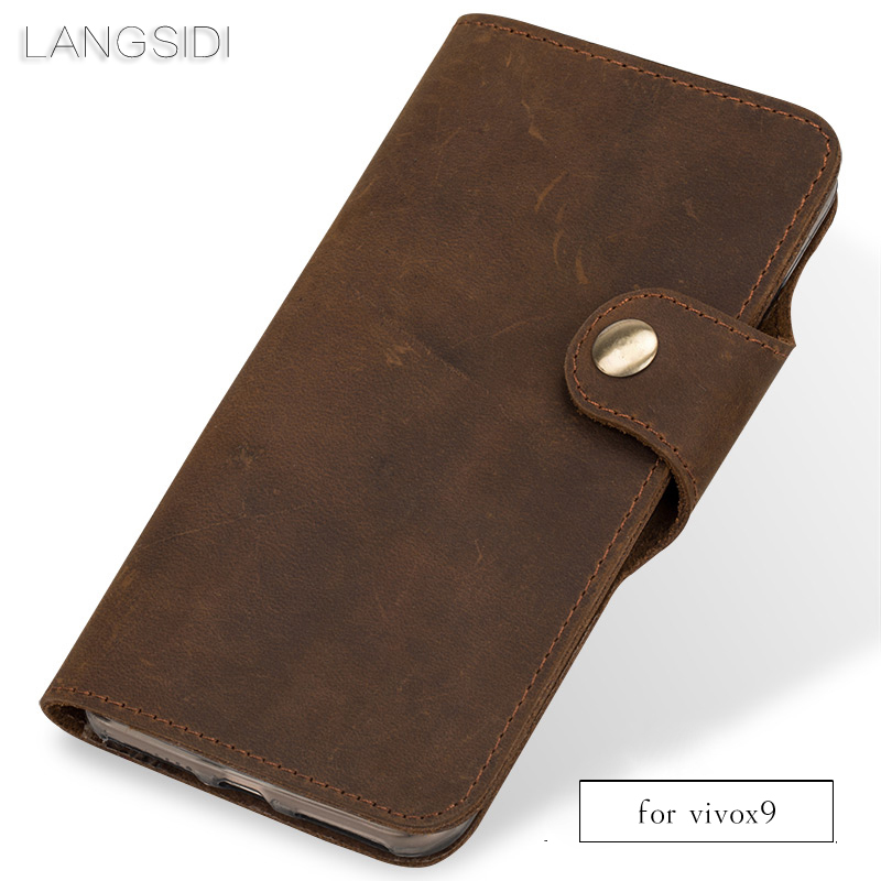 Cuir véritable de luxe coque de téléphone en cuir rétro flip téléphone étui pour vivo X9 main coque de téléphone
