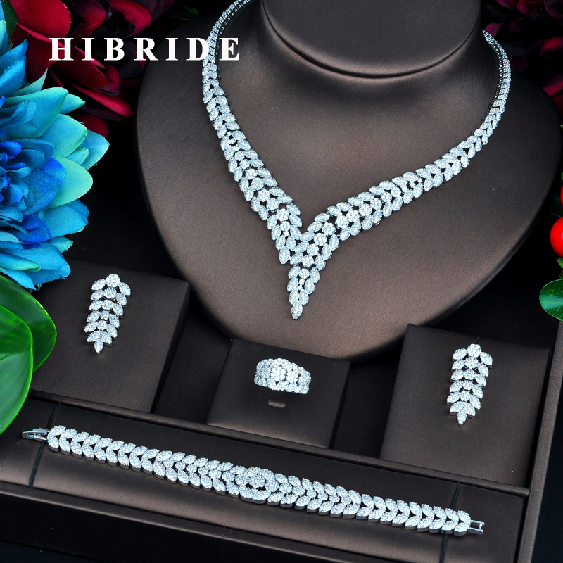 HIBRIDE Brilliant Luxury Design White Gold Color Micro Cubic Zircon Pave Jewelry Sets For Women Bridal Wedding Accessories N-731 hibride luxury design yellow cubic zircon pendientes mujer jewelry sets women bridal dress accessories bijoux mariage gift n 520
