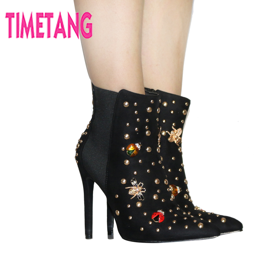 New Arrival European Style Cute Insect Rivets Sexy Pointed Toe High Thin Heel Ankle Boot for Women Sping/Autumn/Winter Lady Boot blaibilton new autumn winter high quality mens ankle boot 100