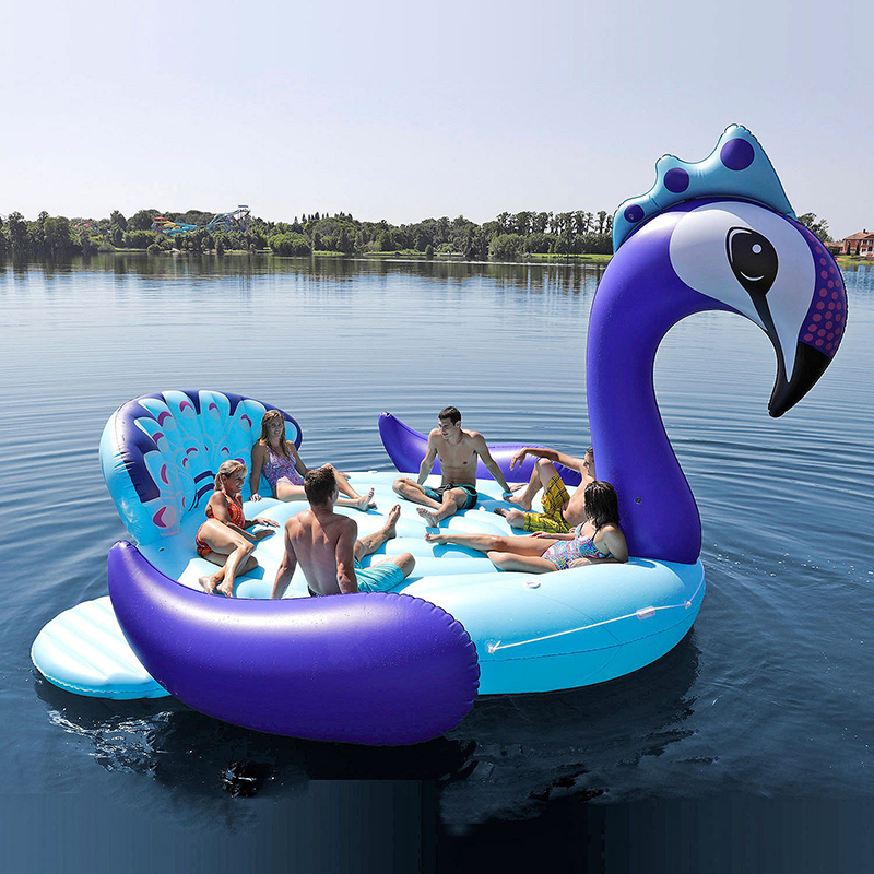 6 Person Inflatable Giant Peacock Pool Float Island Swimming Pool Lake Beach Party Floating Boat Adult Water Toys Air Mattresses 4 person island inflatable water group pool float lake river floating lounge raft backrest recliner floating sleeping bed chair