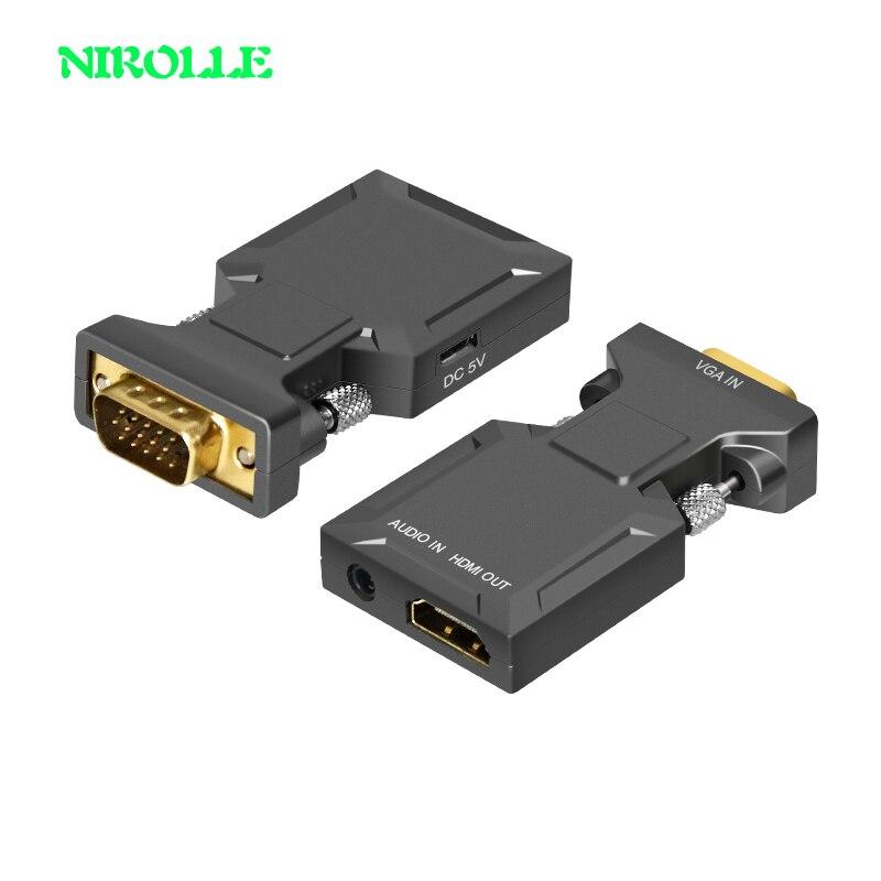 NIROLLE convertidor HDMI a VGA con Audio Full HD VGA a HDMI adaptador con salida de vídeo de 1080 P HD para PC portátil a HDTV para proyector