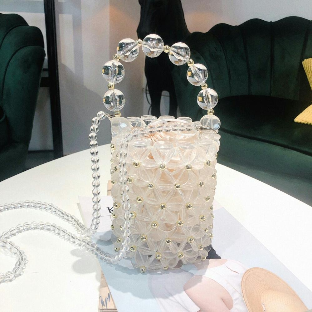 INS Pearls Beading Bag For women Fashion Handmade Handbags Vintage Evening Party Ladies Luxury Hollow Tote