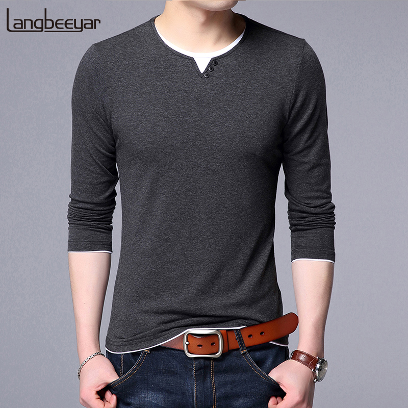 New Fashion Brand Tshirt Mens Korean Cotton Tops Streetwear Trending Solid Color Long Sleeve Boyfriend Gift T-Shirt Men Clothing