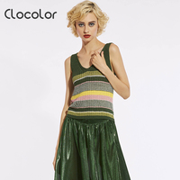 Clocolor Women Tanks Tops Loose V Neck Striped Causal 2017 Fashion Vest Pullover Sweater Knitted Undershirt