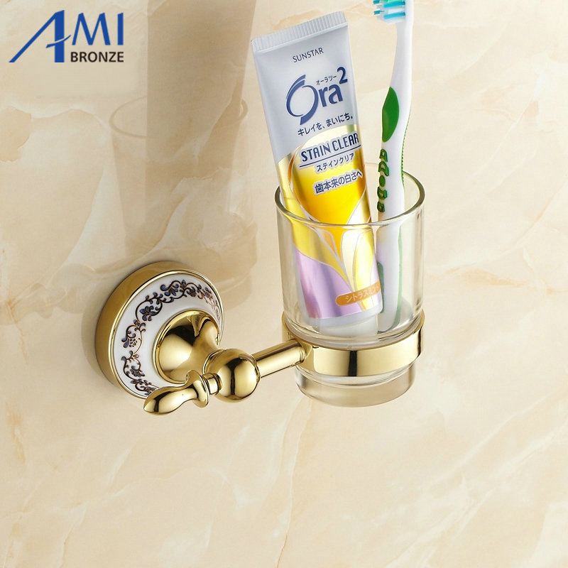 Golden Toothbrush Holder Glass Cup Tumbler Wall Mounted Bathroom Accessories 7006GP free shipping sus304 stainless steel wall mounted single cup holder glass tumbler holder for toothbrushes bathroom accessories