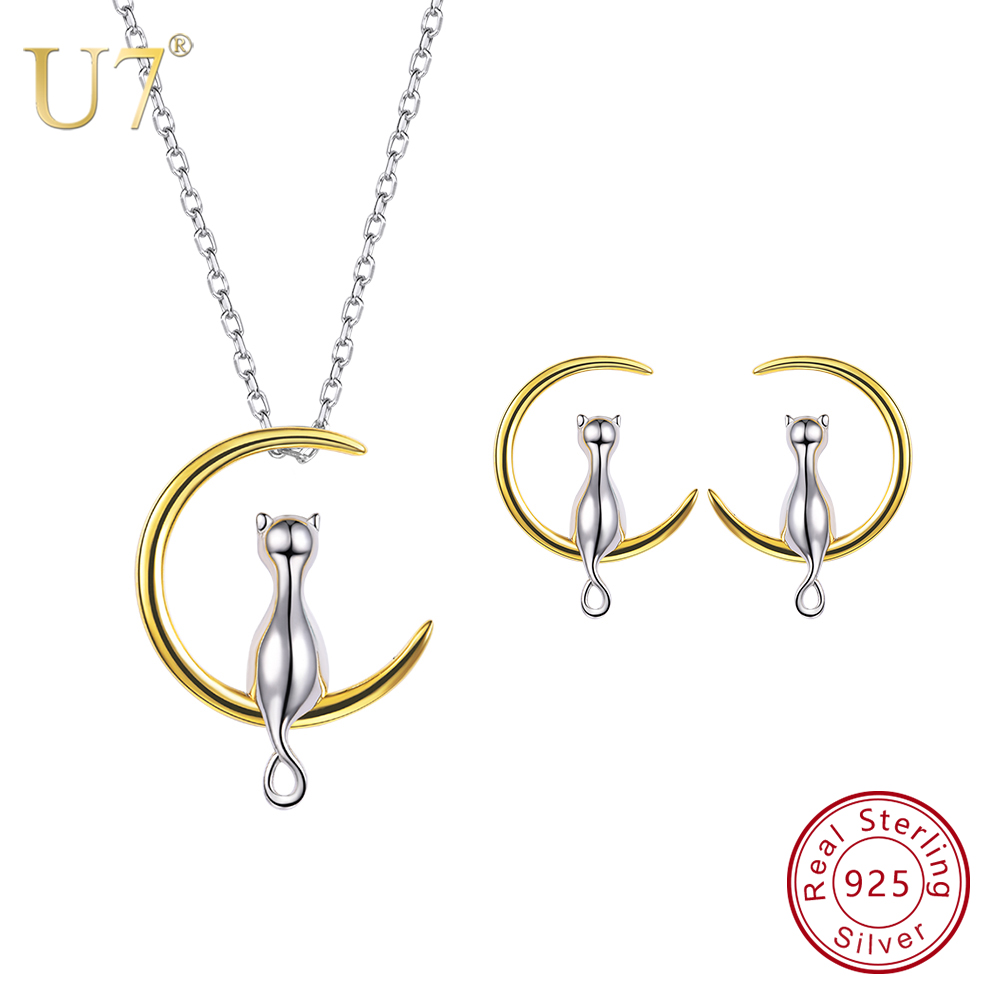 U7 925 Sterling Silver Cat Sit on Moon Necklace And Stud Earrings Set Birthday Valentine's/Mother's Day Gift for Girl/Women SC89 u7 925 sterling silver love heart necklace and stud earrings set with gem mother s day gifts for girlfriend women jewelry sc91
