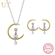 U7 925 Sterling Silver Cat Sit on Moon Necklace And Stud Earrings Set Birthday Valentine's/Mother's Day Gift for Girl/Women SC89(China)