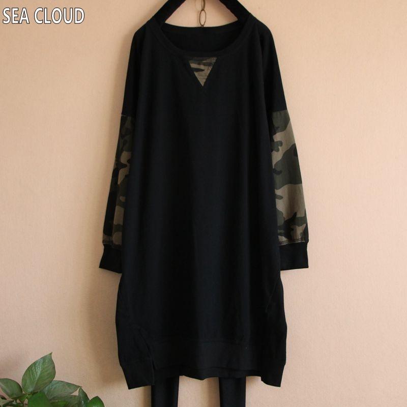 T Long 82 Plus Shirt Size Basic short shirt sleeve Sleeve And Spring Loose Sleeve Autumn Clothing Patchwork Long Camouflage Women T SaagrBT