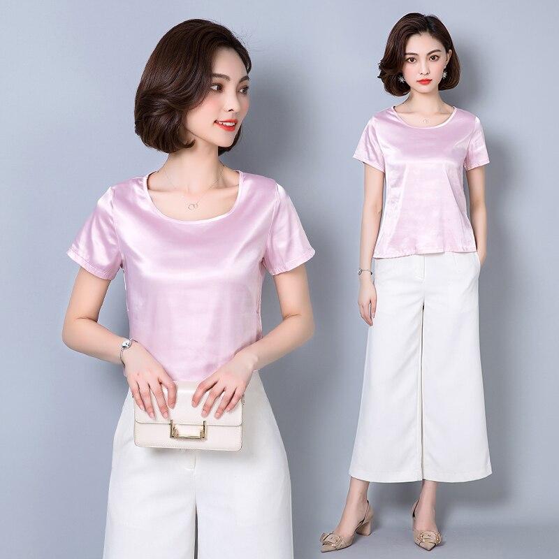 Women Blouses Casual OL Silk Blouse Autumn Loose Basic Satin Shirt Work Wear Blusas Feminina Tops Shirts Plus Size XXXL Pink/Red