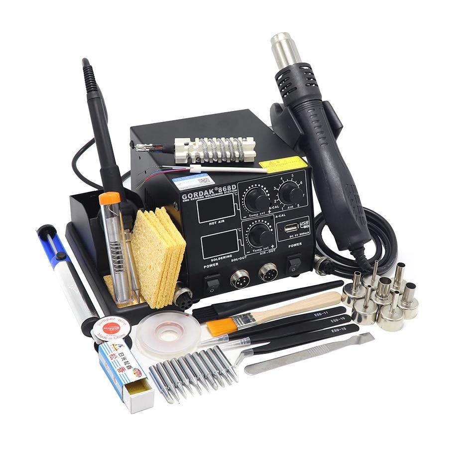 GORDAK 868D hot air gun soldering station BGA rework station hot air soldering iron dual digital display USB interface