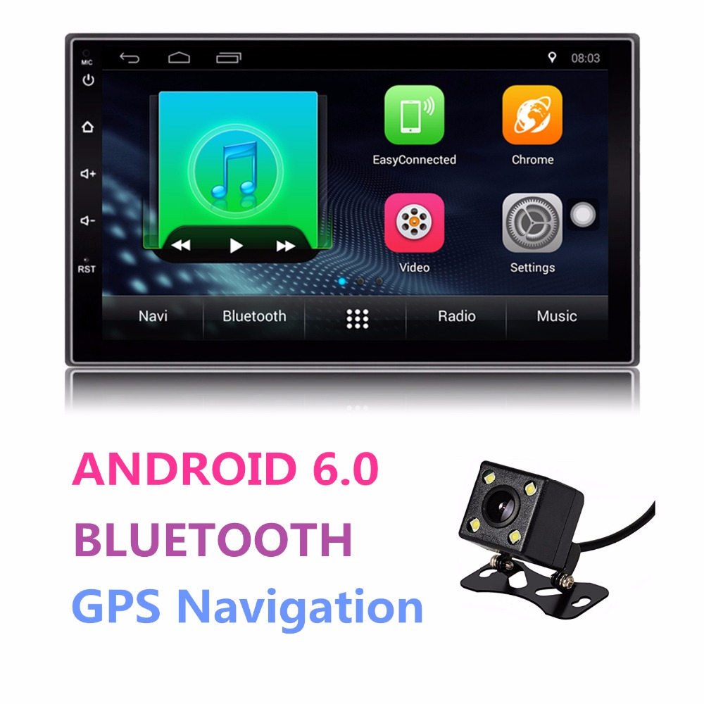 Universal Android Double 2 Din Auto Radio 7'' Touch Screen Quad Core 1GB RAM 16GB ROM Bluetooth Car Radio Stereo GPS Navigation android 6 0 car dvd stereo fastest 2ghz quad core capacitive multi touch double 2 din car pc cd stereo gps tv bt wifi 3g camera