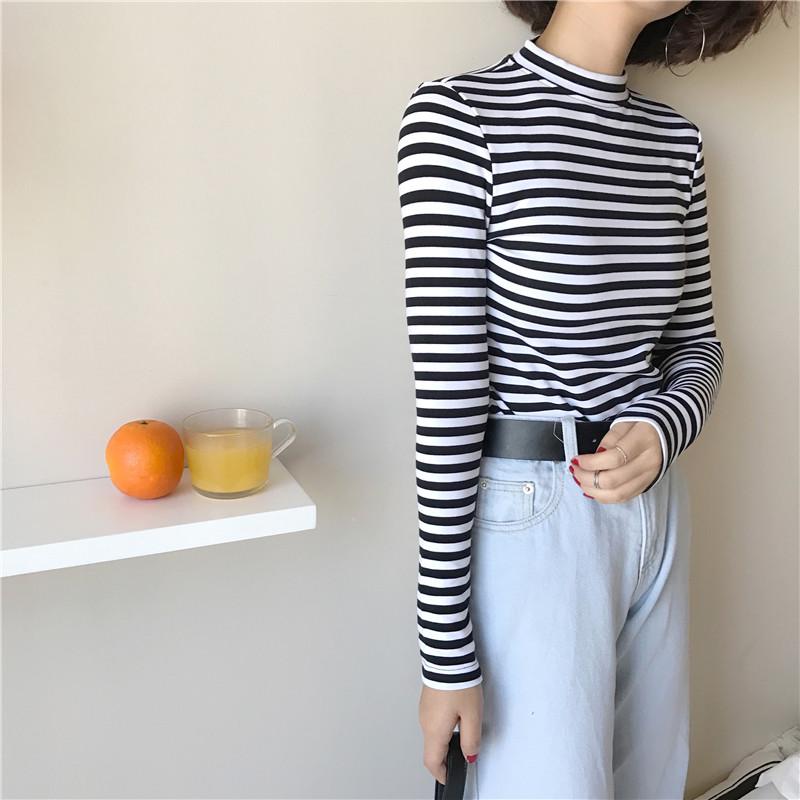 19 Korean Style Long Sleeve T Shirts Women New Hot Sale Student T-shirt Womens Fashion Harajuku Striped Female Slim Femme Lady 5