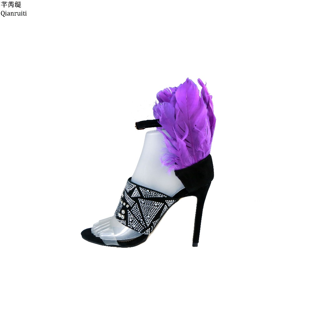Qianruiti Purple Feather High Heels Women Sandals Ankle Buckle Strap Women Pumps Clear PVC Studded Crystal Stiletto Heels Shoes qianruiti orange yellow clear pvc stiletto heels women sandals ankle buckle strap women pumps peep toe cut outs high heels shoes