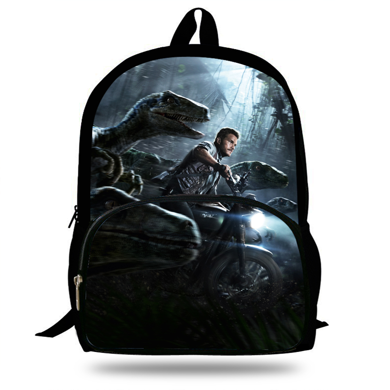 Image 3 - 16 inch Popular Animal Printing Backpack For Kids Jurassic World Fallen Kingdom Bags For Girls Boys Children School-in Backpacks from Luggage & Bags
