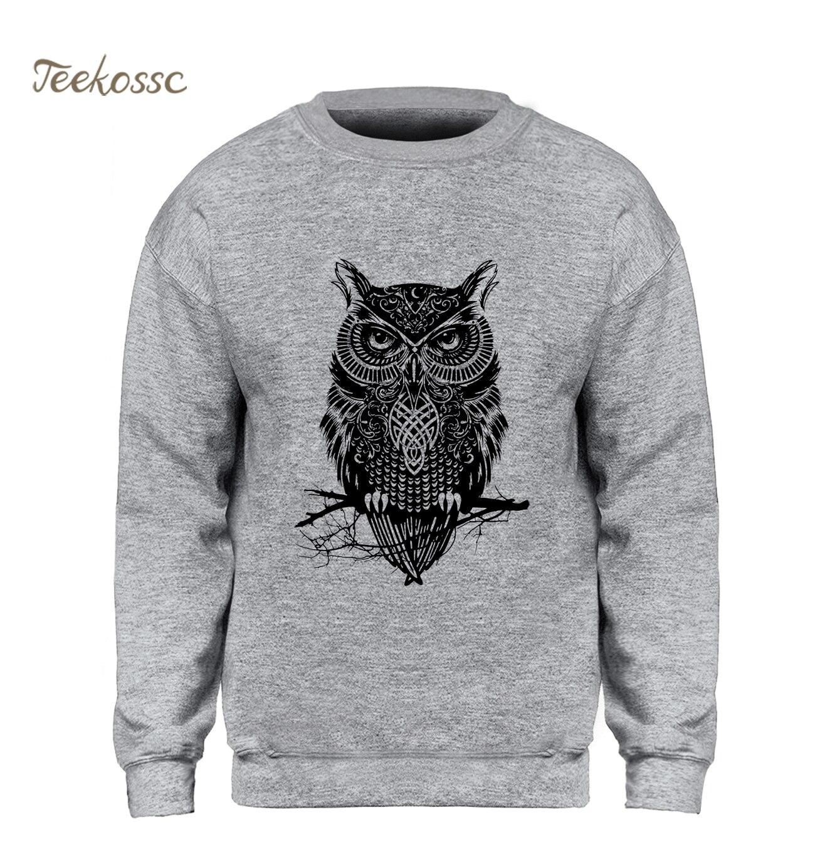 Animal Owl Hoodie Men Black Sweatshirt Casual Crewneck Sweatshirts 2018 New Brand Winter Autumn Fleece Warm Hoody Brand Clothing