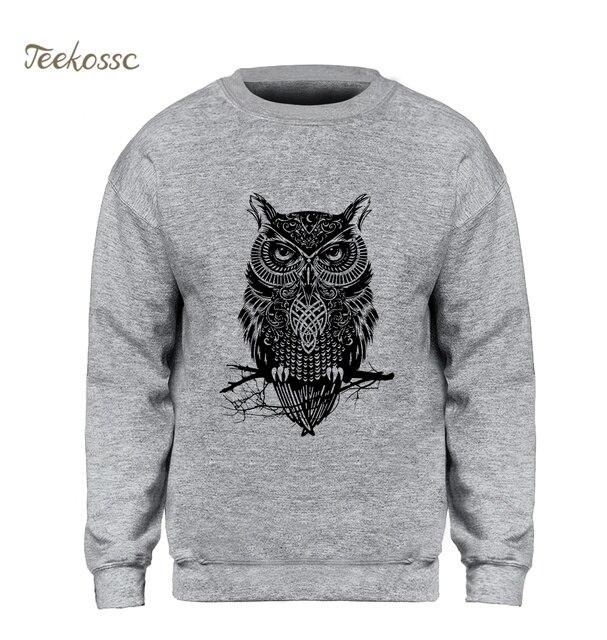 2660f8c31205 Animal Owl Hoodie Men Black Sweatshirt Casual Crewneck Sweatshirts 2018 New  Brand Winter Autumn Fleece Warm Hoody Brand Clothing-in Hoodies    Sweatshirts ...