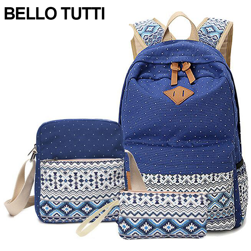 BELLO TUTTI Flower Printing School Bags For Teenagers Backpack Women Shoulder Bags Pencil Bag 3PCS/Set Girls Canvas BookBag hynes eagle 3 pcs set 3d letter bookbag boys backpacks school bags children shoulder bag mochila girls exo printing backpack