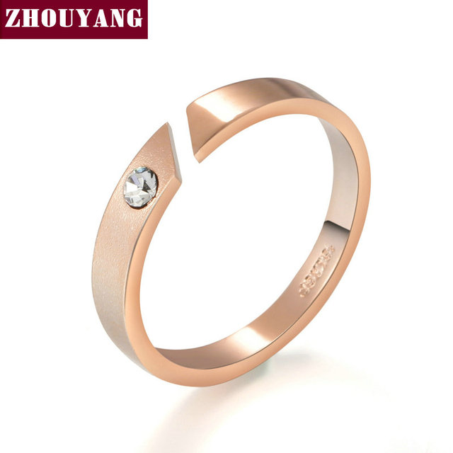Top Quality Concise Rose Gold Color Ring Jewelry Austrian Crystal Full Sizes Who