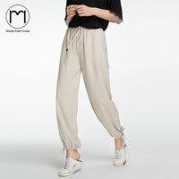 מרווח רחוב גבוה 2017 אופנה חדשה מכנסיים מזדמנים מכנסי הרמון רופפים גבוהים מותניים נשים Streetwear נשים Pantalon Femme חאקי