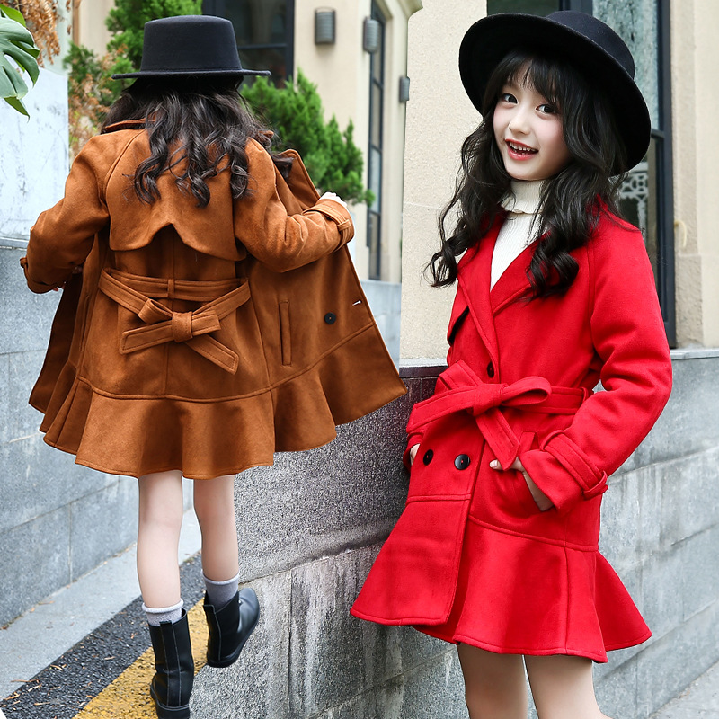 Retail 1Pcs Girls Winter Long Fishtail Pendulum Thick Jacket For Girls Pink&Red&Brown Turn-down Collar Belt Leather Outwear Coat stylish turn down collar long sleeve spliced cape coat for women
