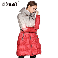 EISWELT New Long Down Jackets Women Plus Size Puffer Winter Jacket Down Coat Female Printed Outwear
