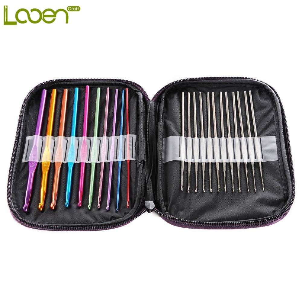 Looen Random 10pcs Aluminum Crochet Hooks And 12Pcs Silver Hooks Needles Knit Weave Stitches Knitting Craft With Five Color Case