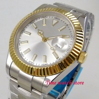 Parnis watch 40mm silver dial Luminous sapphire glass golden bezel ring Automatic movement Men's watch 1207