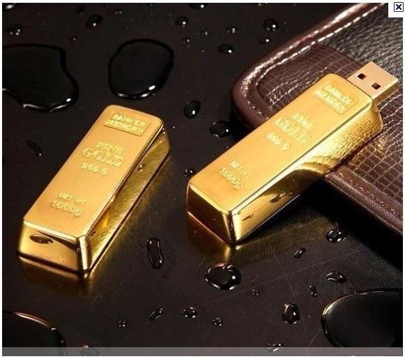 2016 Fashion bullion gold bar pendrive 128GB 64GB 32GB 16GB 8GB USB Flash Drive Pen Drive Flash Memory Stick Drives flash gold
